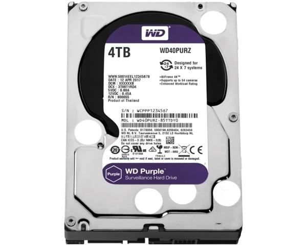 HDD WD 4TB WD40PURZ SATA3 64MB Caviar Purple