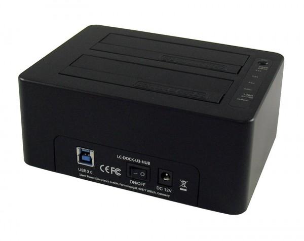 HDD D. Station dual bay LC-DOCK-U3-HUB 2xSSD/HDD, Black ,3x USB3.0 HUB