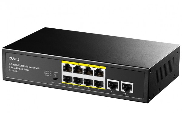 Cudy FS1010PG PoE+ svič 10-portni 8 PoE+ 802.3af/at 10/100Mb/s
