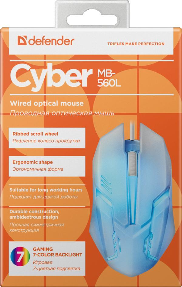 Miš Defender Cyber MB-560L žični USB, 7 boja
